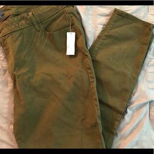 Olive Green Brushed Denim Rockstars Jeans